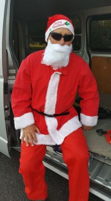 Santa ready to make his entrance at the M4K Xmas party at the Botanical Gardens last night.