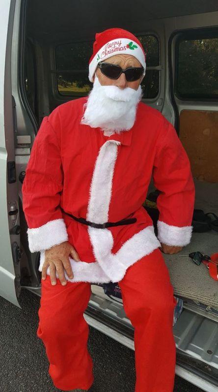 Santa ready to make his entrance at the M4K Xmas party at the Botanical Gardens last night.