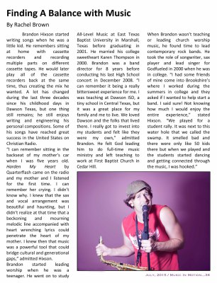 Brandon Hixson - Music In Motion Finding A Balance with Music Page 1