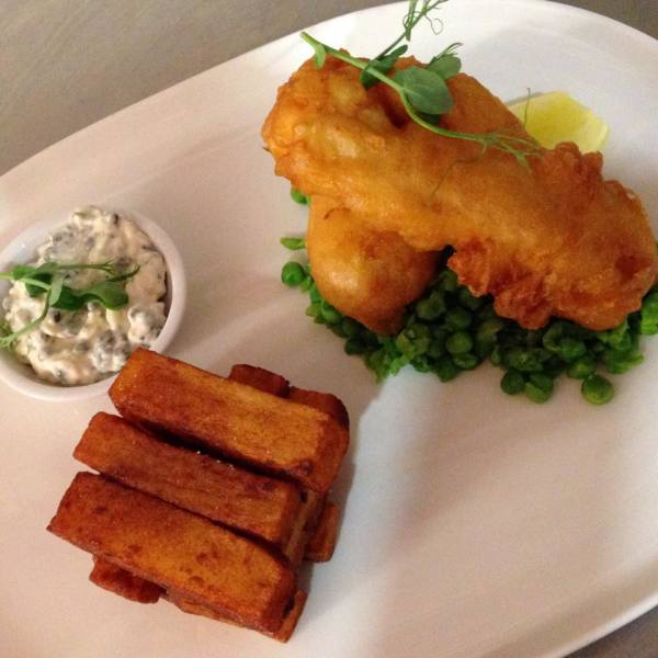 Beer battered haddock fillets and hand cooked chips