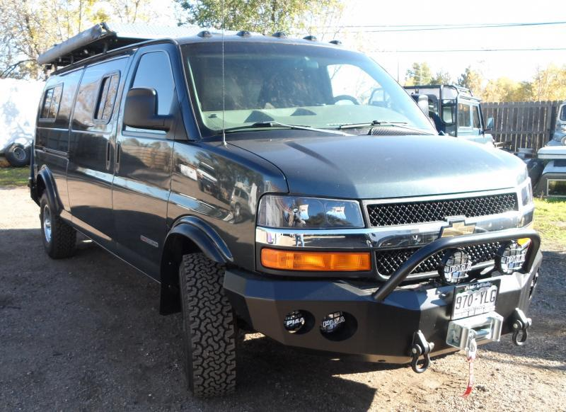 Chevy express Lifted with front winch bumper