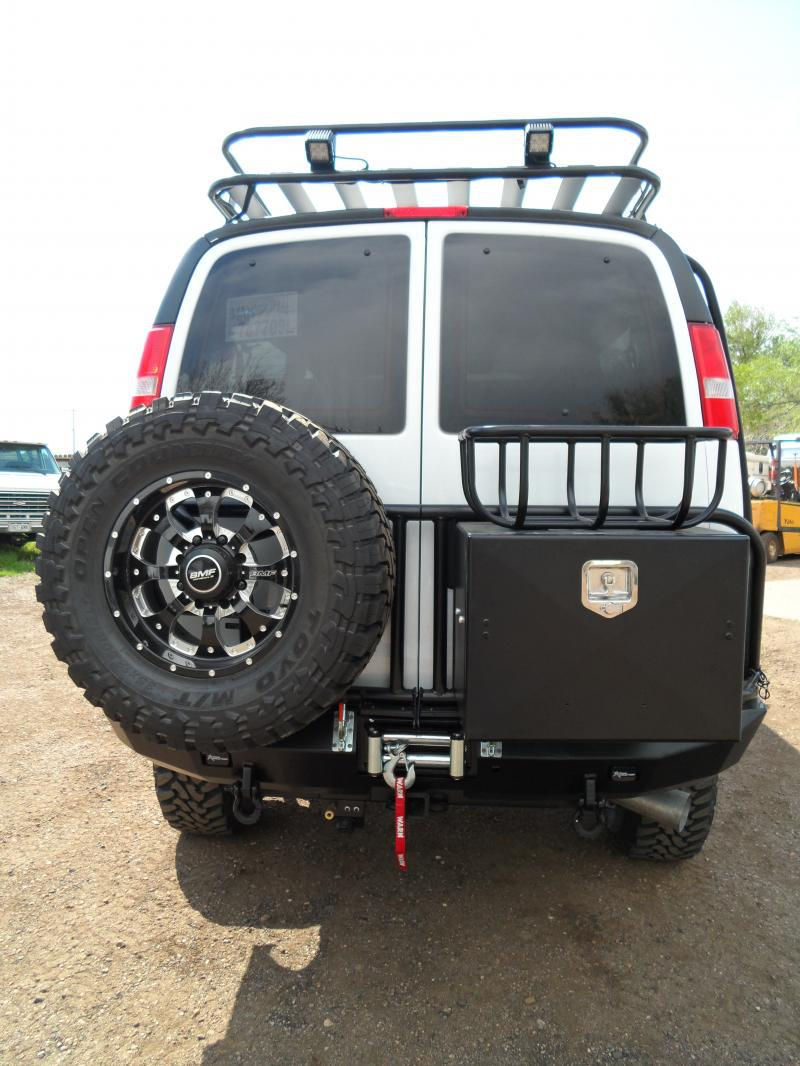 Chevy Express custom rear bumper with box, basket, and spare tire swing out