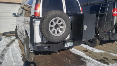 Chevy Express Aluminess rear bumper with box and spare tire swing out
