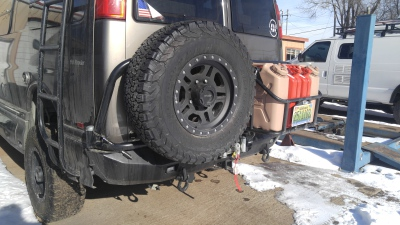 Chevy Express rear bumper spare tire carrier and fuel box