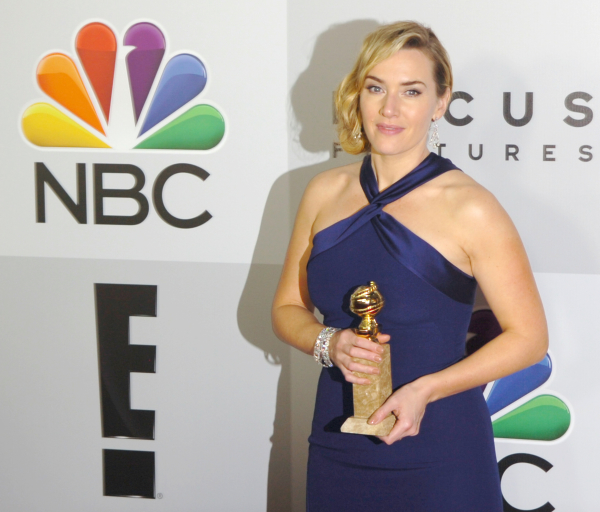 Kate Winslet with her Golden Globe.