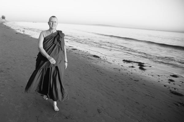 Venerable Khenmo Drolma in Malibu.