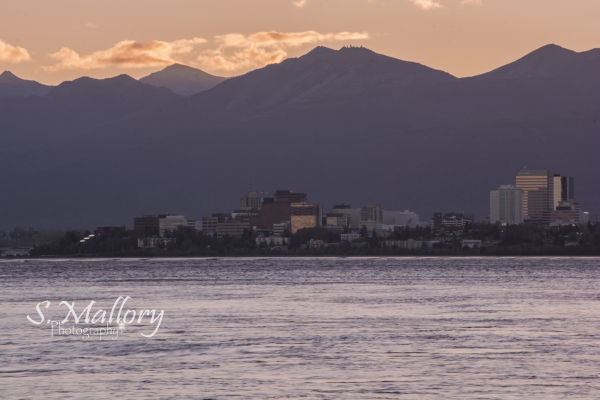 Sunrise over city of Anchorage