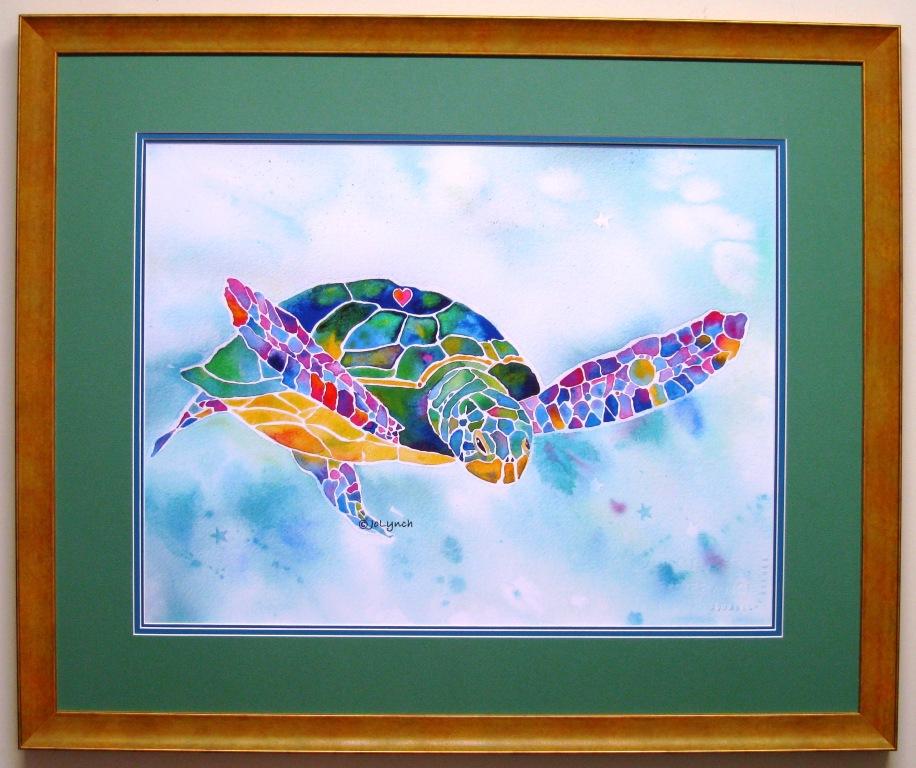 Custom Frame around Turtle Painting