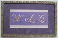Innerwood Gallery, hand stitched bookmark, purple suede, floral frame