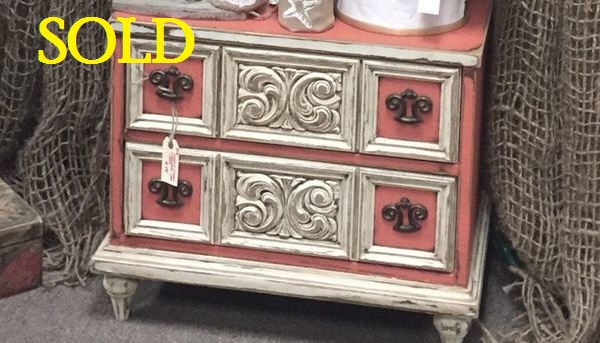 Antiqued Coral Side Chest