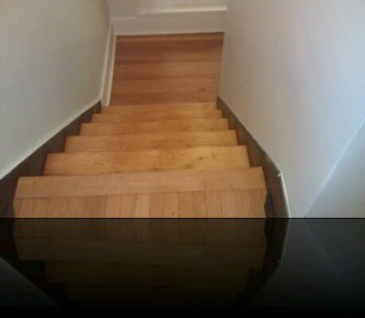 stair treads and landing sand and finish