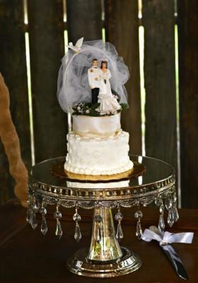 The Venue at Dawes Mobile Alabama wedding venue silver cake stand