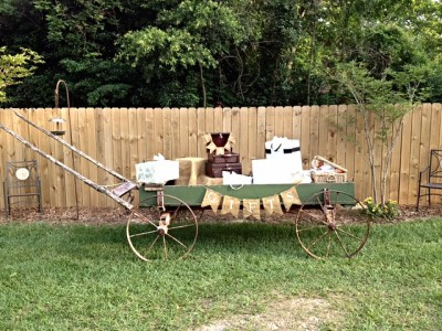 The Venue at Dawes Mobile Alabama wedding venue old horse drawn wagon