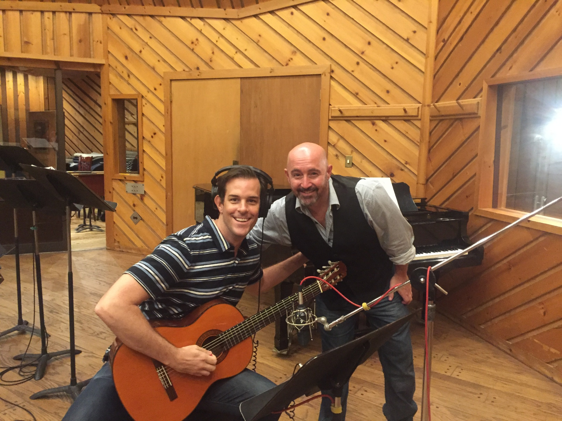 Laying down Guitar tracks for the Hunchback of Notre Dame Cast album