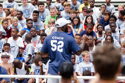 L.A. Rams linebacker and former Newnan football star Alec Ogletree addresses Saturday's campers.