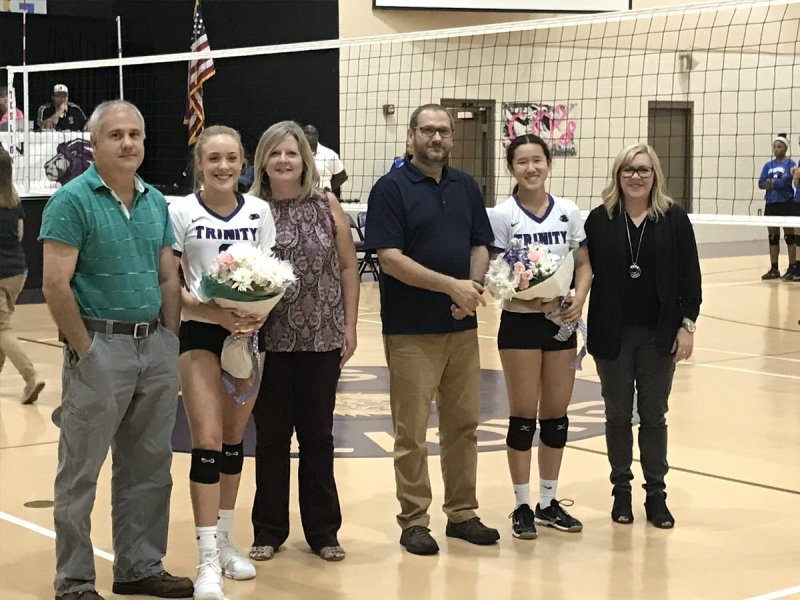 Photo courtesy TCS - Trinity Christian honored seniors Morgan Lane (left) and Anna Montgomery.