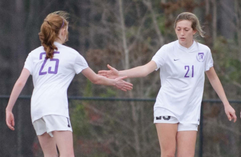 Senior Abby Bragg, at right, scored two goals in the second half in a 4-2 win over Bulloch.