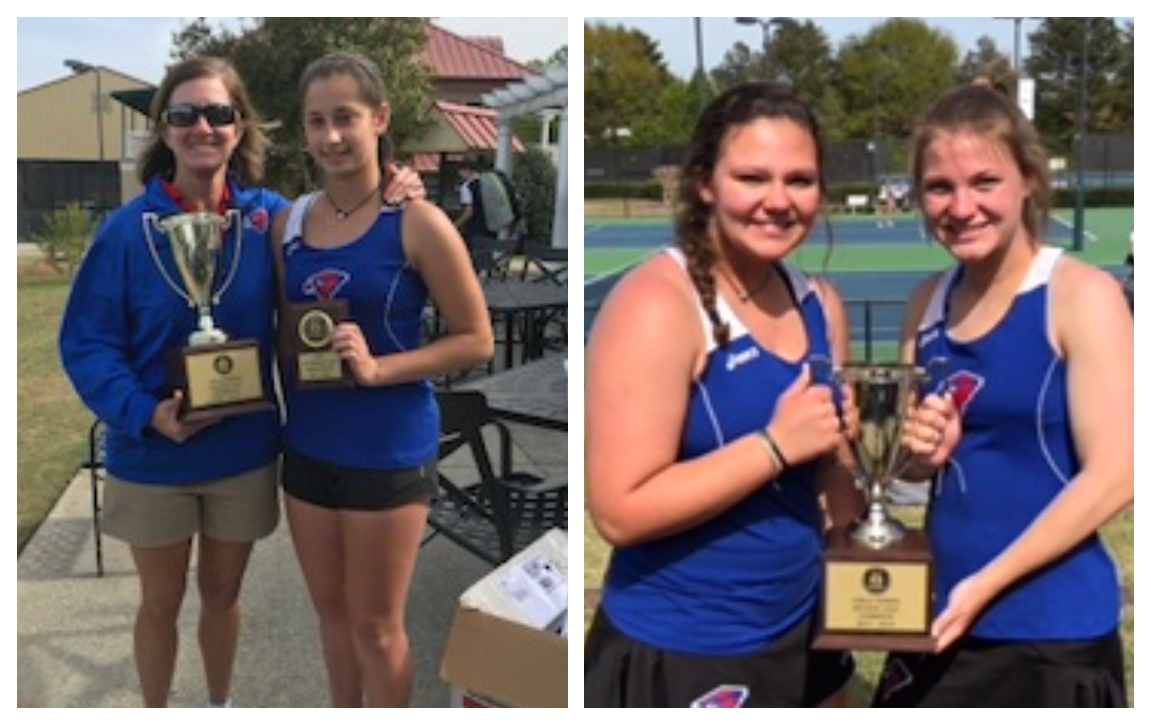 Cameron Rogin (left photo) and a team of Olivia Gentry and Jewell Burson won titles for Heritage..