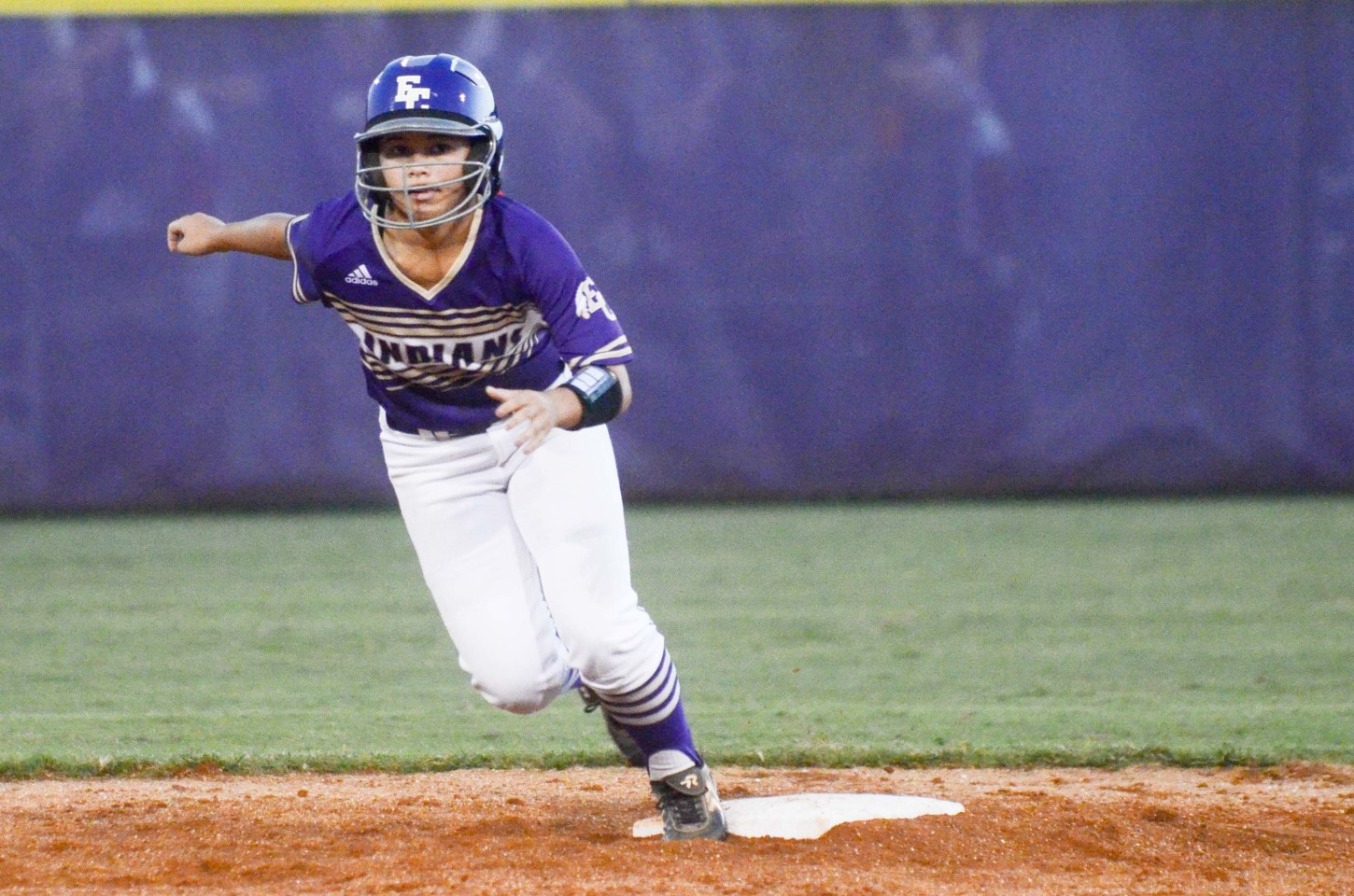 Senior Kris Odum and the Lady Indians were active on the bases in 10-0 and 16-0 victories