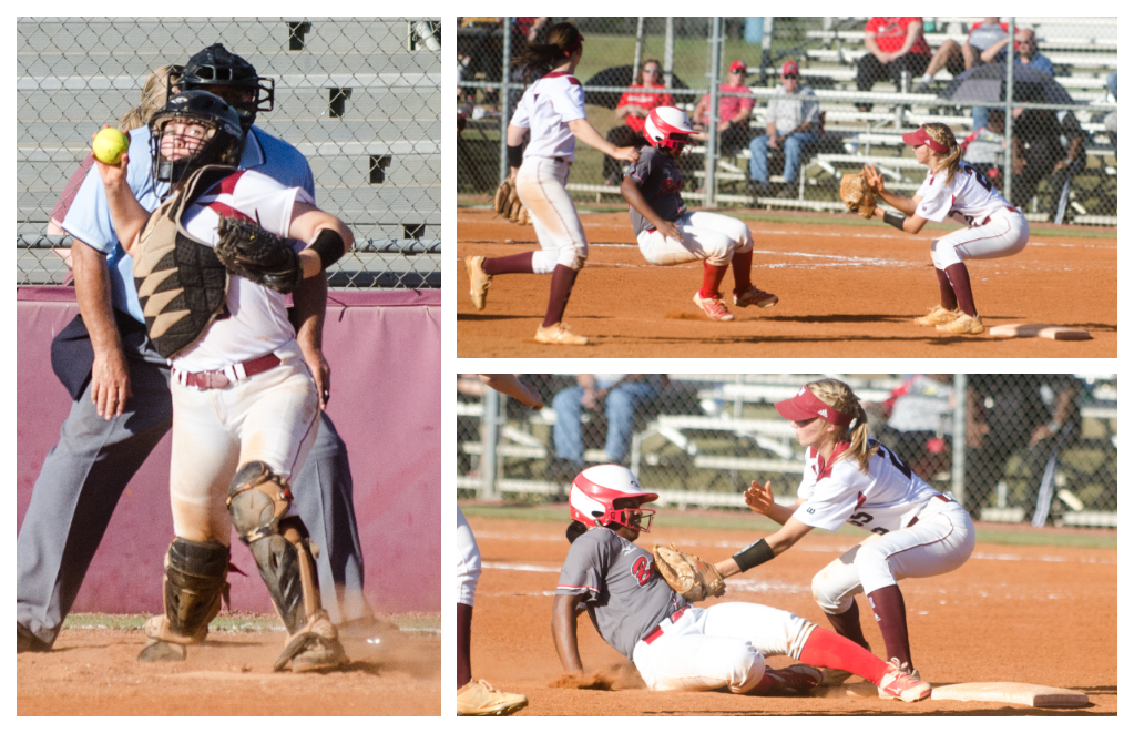 Catcher Sarah Turi throws out a Winder-Barrow runner on a relay to shortstop Ashley Kent.