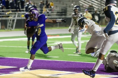 Gerald Green reaches the end zone for one of his six touchdowns in a 45-21 win.