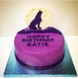 wolf and moon birthday cake