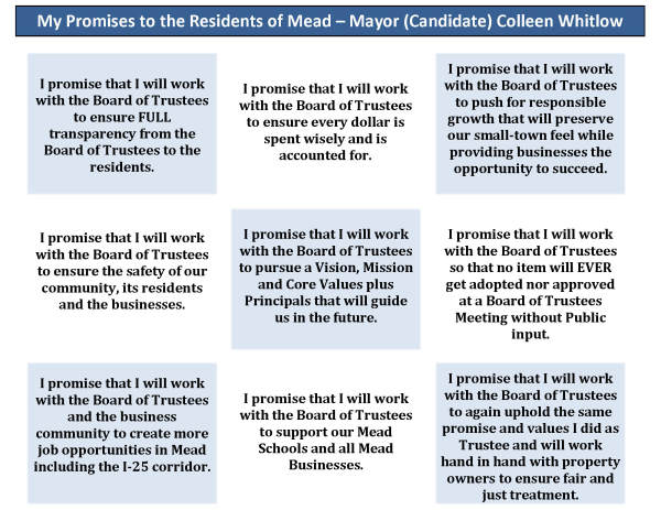 My Promises to the Residents of Mead!