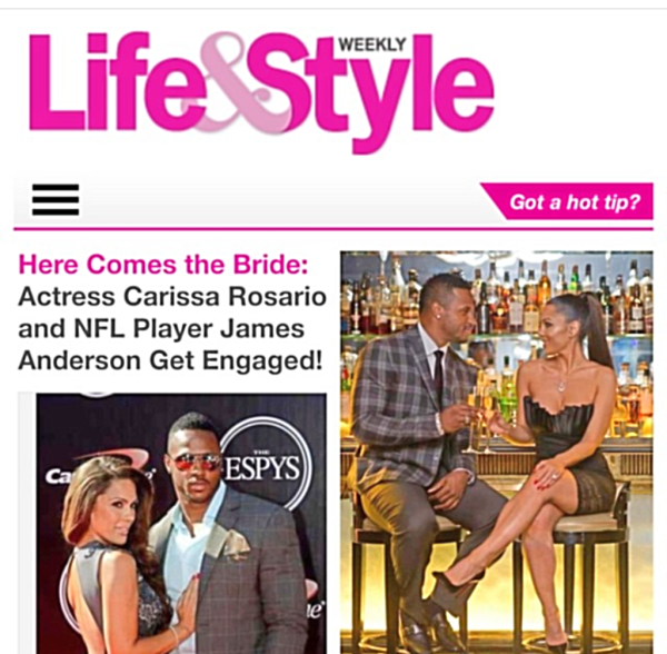 NFL James Anderson, Carissa Rosario, Life & Style Magazine