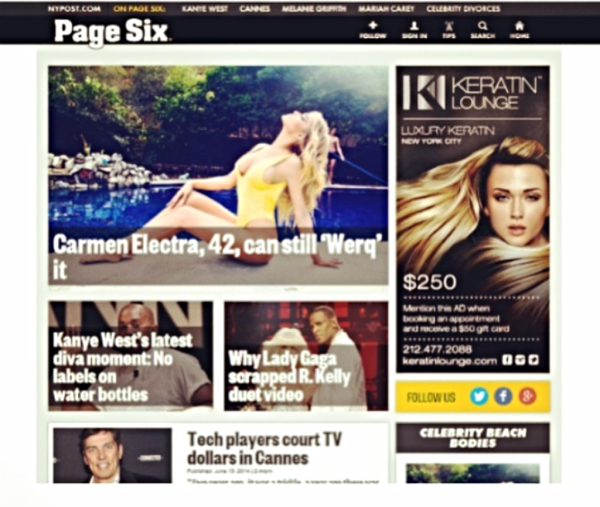 Keratin Lounge, NY Post Page Six