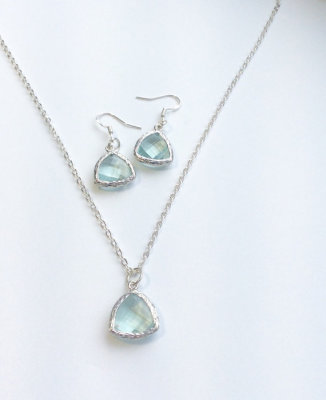 Frame glass earring and necklace