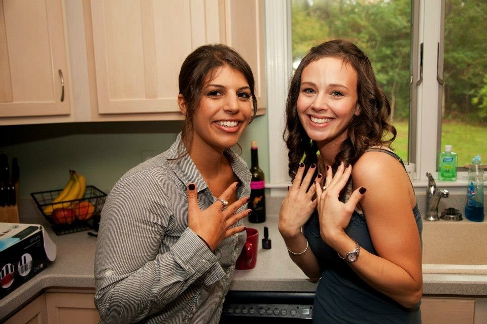 Bridesmaids showing off painted nails