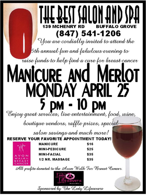 Manicure and Merlot fundraiser event flyer