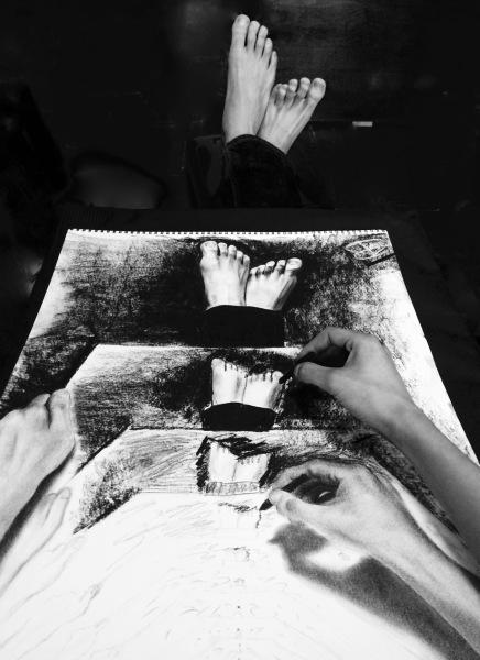 """Escher's Feet (18""""x24"""")"""