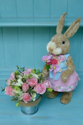 Mrs Rabbit and Seasonal Bucket of Easter Flowers