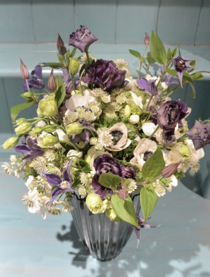 Deep purple white and green flowers.