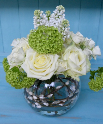 White Roses, Lilac and Viburnum with Pussy-willow in a Fishbowl Vase