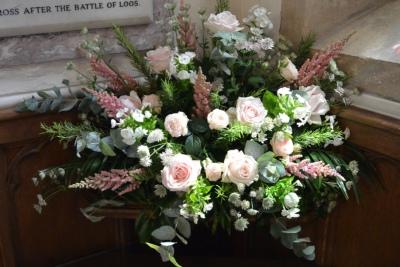 Corner church wedding arrangement.