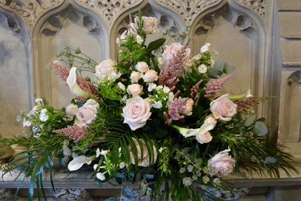 Church alter wedding arrangement.