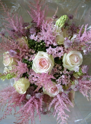 Summer pink bouquet of  dolce avalanche roses and seasonal flowers