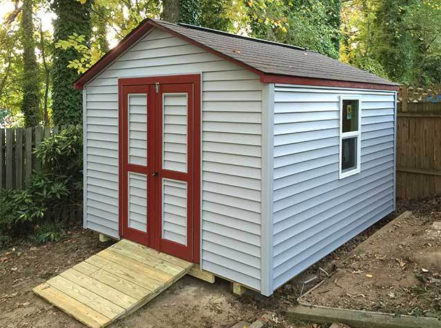 10x12x8.5 back yard shed with vinyl siding, our Potomac gable style.
