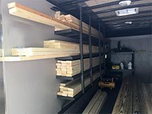 Inside storage of lumber in our utility trailer.