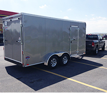 Our utility trailer and work truck.