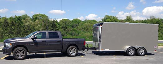 Five Star Shed's utility trailer and truck.