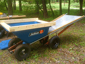 Five Star Shed's specially designed wheelbarrow.