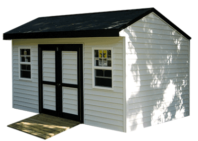 A 16x10x9.5 Elite design storage shed with a 7 foot sidewall height with white vinyl siding and black painted trim.