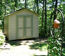 Link to info: 8x12x9 garden shed built with fiberglass doors.
