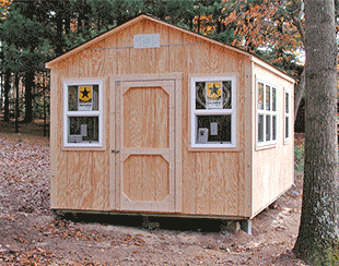 Front view of a 10x15x9.5 customized shed with lots of windows.