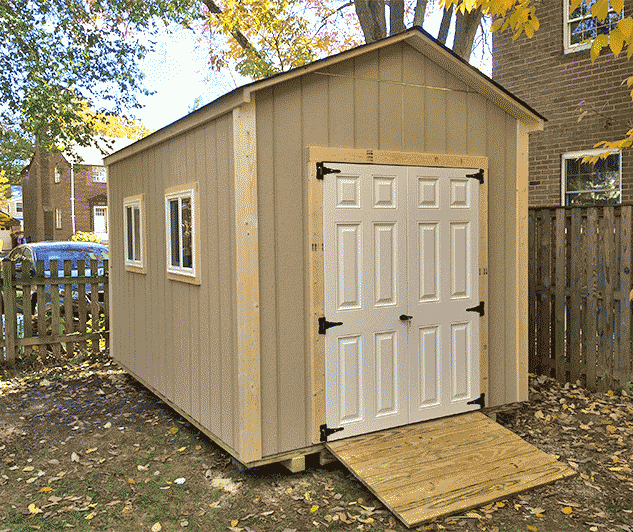8x12x9 garden shed with fiberglass doors. Our Potomac gable style built with LP SmartSide®..