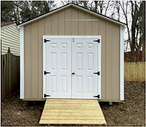 Link to info: 10x14x9.5 storage shed with fiberglass doors.