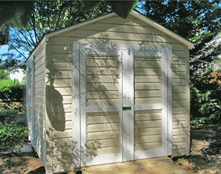 Side view of an 8x12x8 playhouse and garden shed combo.